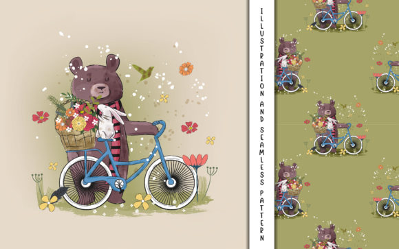 Cute Bear and a Bike with Flowers Graphic Illustrations By maniacvector