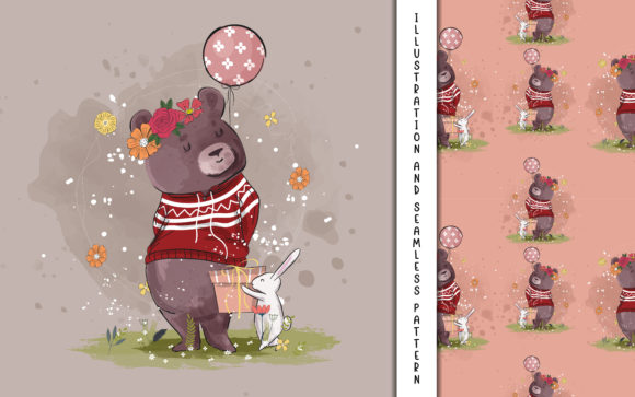 Cute Bear with Balloon Illustration Graphic Illustrations By maniacvector