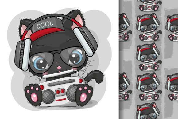 Cute Cartoon Black Cat Listening a Music Graphic Illustrations By maniacvector