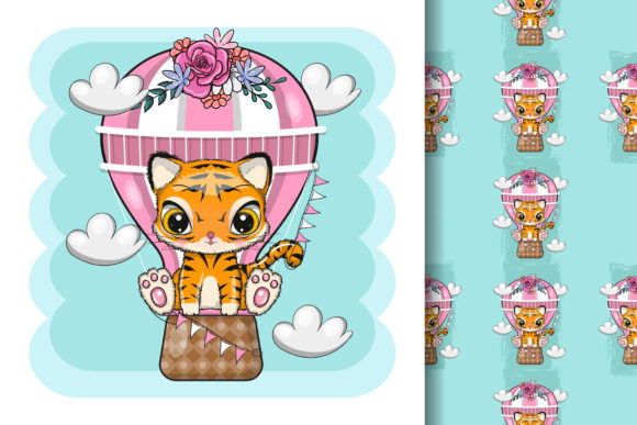 Cute Cartoon Tiger with Air Balloon Graphic Illustrations By maniacvector