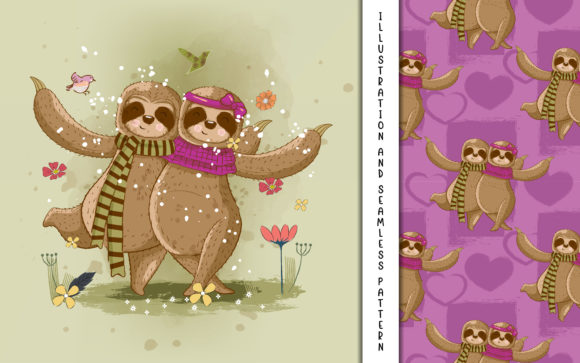 Cute Cartoon Vector Sloth Couple Graphic Illustrations By maniacvector