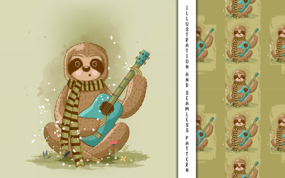 Cute Cartoon Vector Sloth Playing Guitar Graphic Illustrations By maniacvector