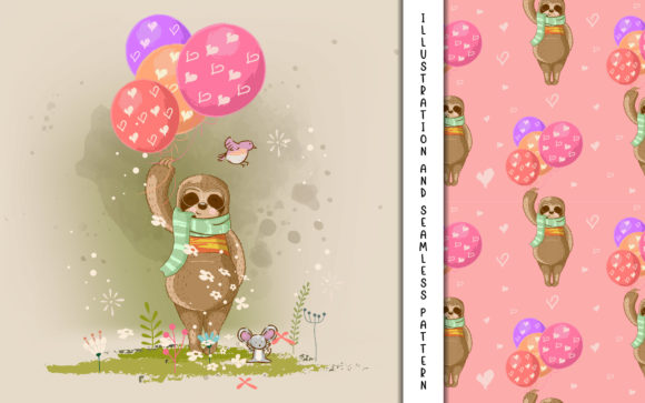 Cute Cartoon Vector Sloth with Balloons Graphic Illustrations By maniacvector