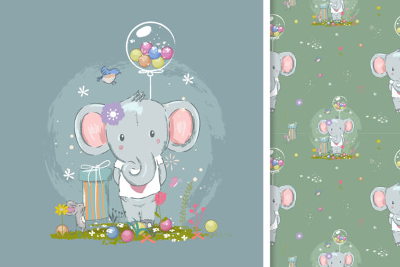Cute Elephant and Seamless Pattern Graphic Illustrations By maniacvector
