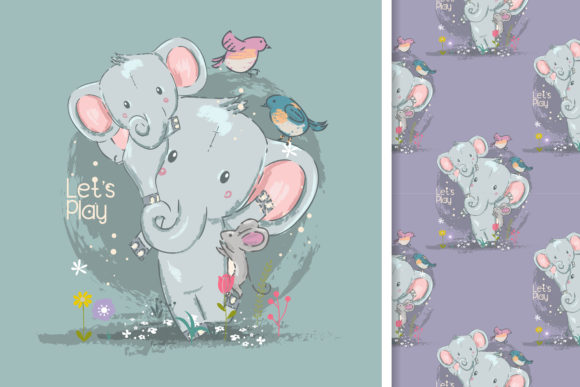 Cute Elephant Card and Seamless Pattern Graphic Illustrations By maniacvector