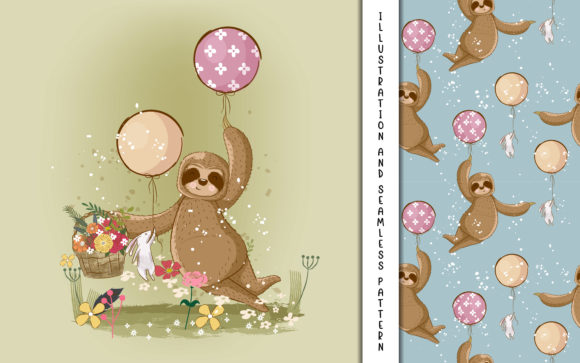 Cute Hand Drawn Cartoon Vector Sloth Graphic Illustrations By maniacvector