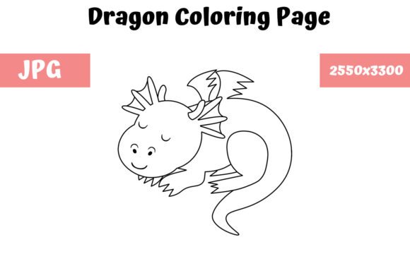 Print on Demand: Dragon Coloring Page for Kids 02 Graphic Coloring Pages & Books Kids By MyBeautifulFiles