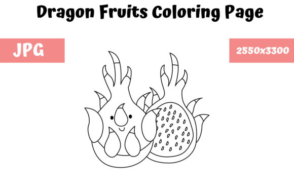 Print on Demand: Dragon Fruits Coloring Page for Kids Graphic Coloring Pages & Books Kids By MyBeautifulFiles