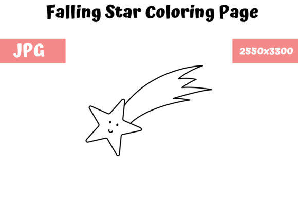 Print on Demand: Falling Star Coloring Page for Kids Graphic Coloring Pages & Books Kids By MyBeautifulFiles