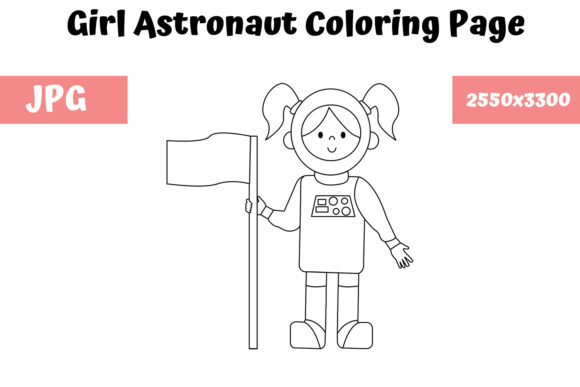 Print on Demand: Girl Astronaut Coloring Page for Kids Graphic Coloring Pages & Books Kids By MyBeautifulFiles