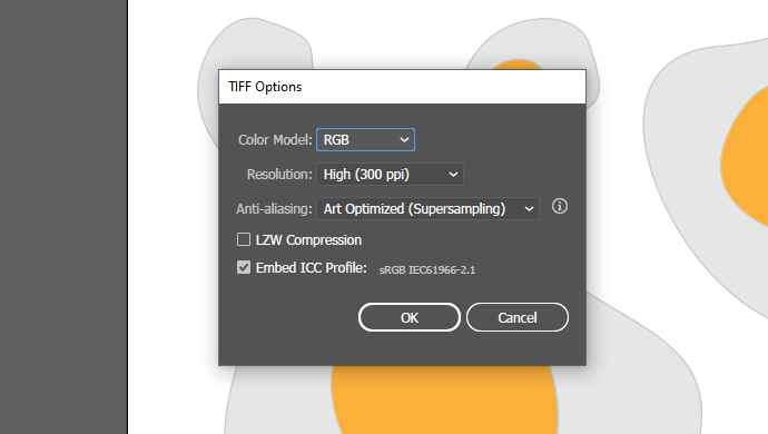 how to export TIFF files on Illustrator
