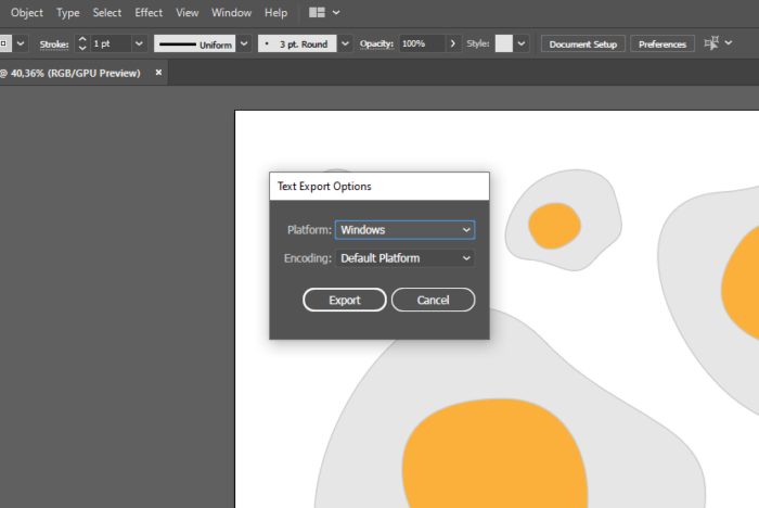how to export text files on Illustrator