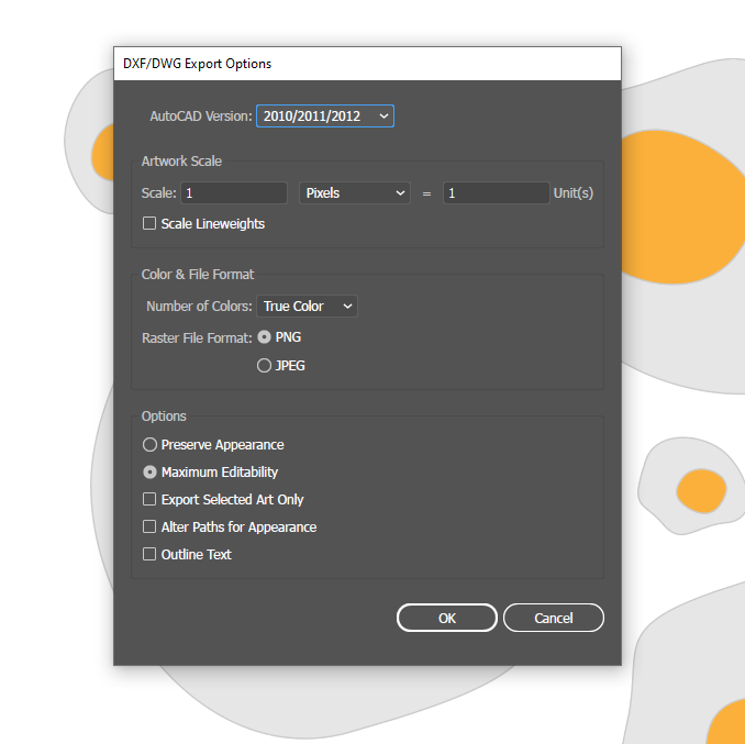 how to save AutoCad files on Illustrator DWG DXF
