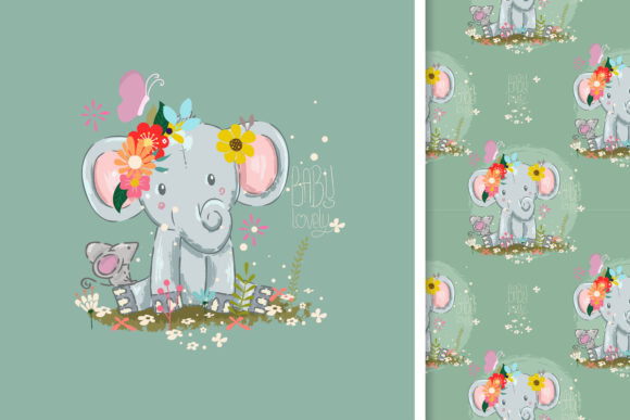 Little Elephant and Seamless Pattern Graphic Illustrations By maniacvector