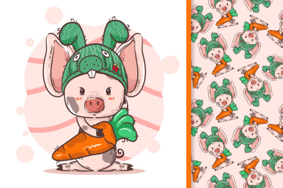 Little Pig with a Bunny Hat Graphic Illustrations By maniacvector