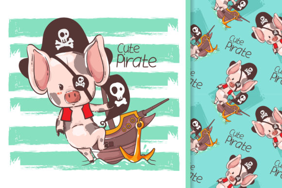 Little Pig with a Pirate Custom Graphic Illustrations By maniacvector
