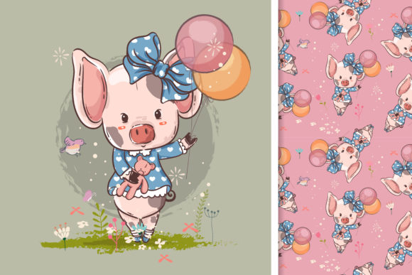 Little Pig with Balloons Graphic Illustrations By maniacvector
