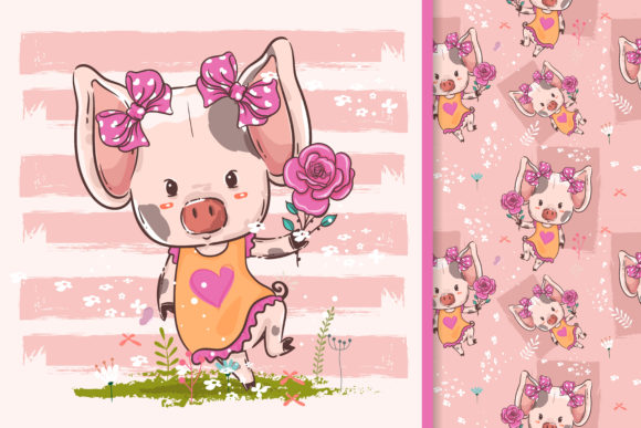 Little Pig with Flowers Graphic Illustrations By maniacvector