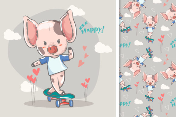 Little Pig with Skateboard Graphic Illustrations By maniacvector