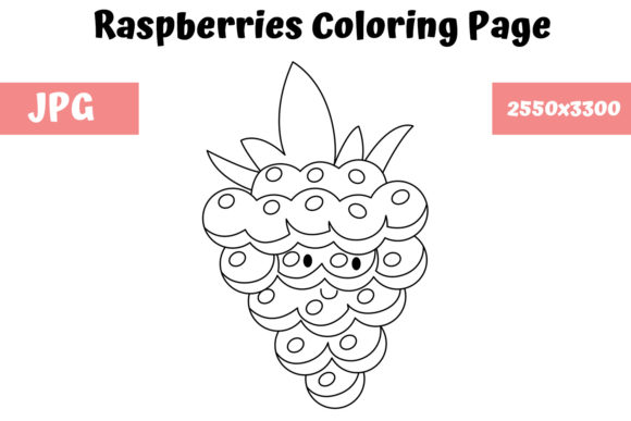 Print on Demand: Raspberries Coloring Page for Kids Graphic Coloring Pages & Books Kids By MyBeautifulFiles