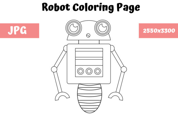 Print on Demand: Robot Coloring Page for Kids 01 Graphic Coloring Pages & Books Kids By MyBeautifulFiles