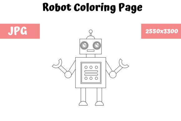 Print on Demand: Robot Coloring Page for Kids 03 Graphic Coloring Pages & Books Kids By MyBeautifulFiles
