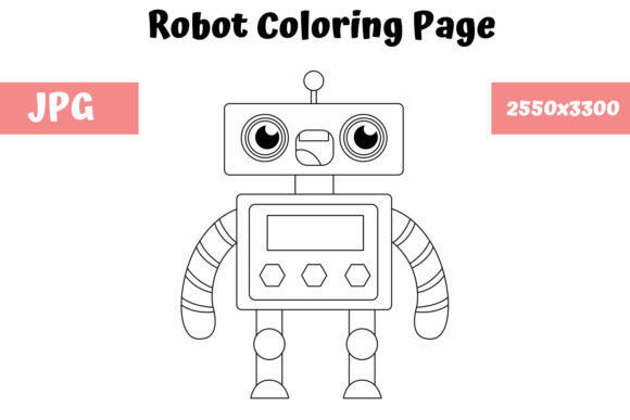 Print on Demand: Robot Coloring Page for Kids 04 Graphic Coloring Pages & Books Kids By MyBeautifulFiles