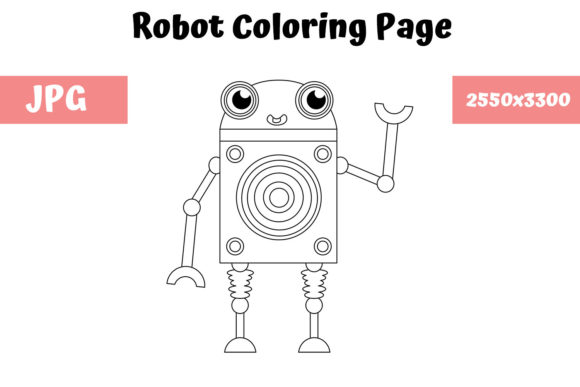 Print on Demand: Robot Coloring Page for Kids 05 Graphic Coloring Pages & Books Kids By MyBeautifulFiles