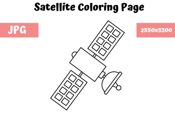 Print on Demand: Satellite Coloring Page for Kids Graphic Coloring Pages & Books Kids By MyBeautifulFiles
