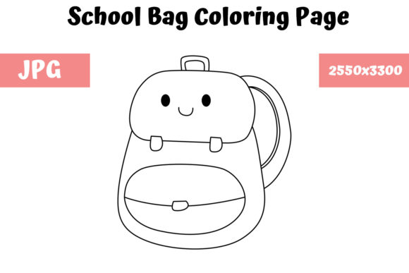 Print on Demand: School Bag Coloring Page for Kids Graphic Coloring Pages & Books Kids By MyBeautifulFiles