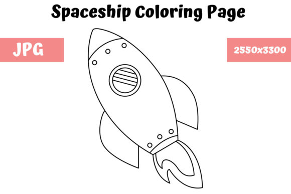 Print on Demand: Spaceship Coloring Page for Kids Graphic Coloring Pages & Books Kids By MyBeautifulFiles
