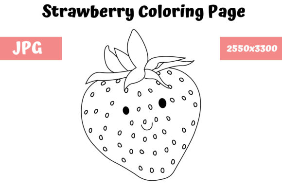 Print on Demand: Strawberry Coloring Page for Kids Graphic Coloring Pages & Books Kids By MyBeautifulFiles