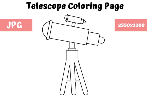 Print on Demand: Telescope Coloring Page for Kids Graphic Coloring Pages & Books Kids By MyBeautifulFiles