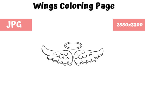Print on Demand: Wings Coloring Page for Kids Graphic Coloring Pages & Books Kids By MyBeautifulFiles