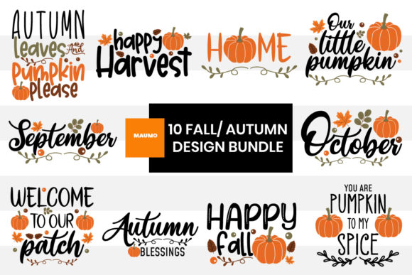 Print on Demand: 10 Fall/ Autumn Design Bundle Graphic Crafts By Maumo Designs