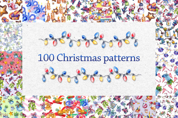 Print on Demand: 100 Patterns of Christmas Watercolor Set Graphic Illustrations By MyStocks