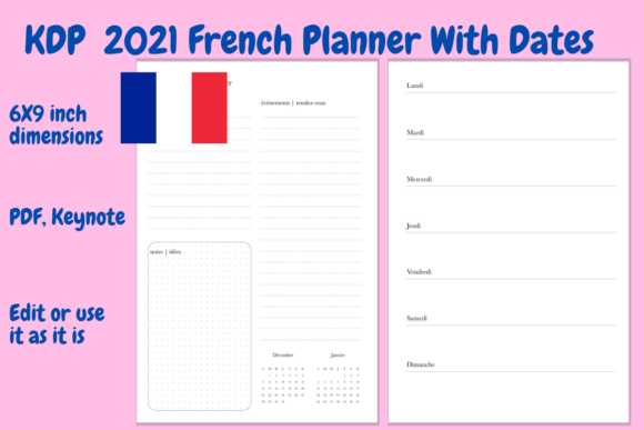 Print on Demand: 2021 French Planner PDF, Keynote Graphic KDP Interiors By Income Plum