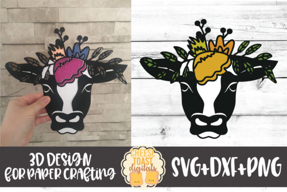 3D Floral Cow Graphic 3D SVG By CheeseToastDigitals