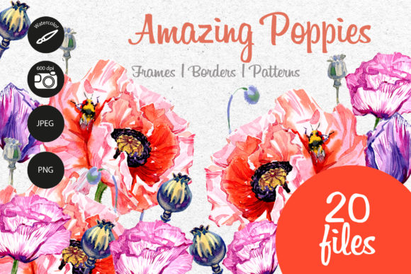 Print on Demand: Amazing Poppies Watercolor Set Graphic Illustrations By MyStocks