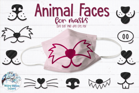 Animal Faces for Masks Graphic Crafts By WispyWillowDesigns
