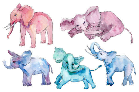 Print on Demand: Baby Elephant for Baby Shower Cards Watercolor Graphic Illustrations By MyStocks