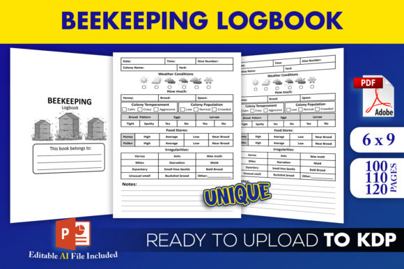 Print on Demand: Beekeeping Logbook KDP Interior Graphic KDP Interiors By Beast Designer