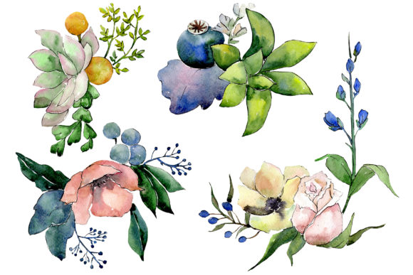 Print on Demand: Bouquet of Flowers Hugs Watercolor Png Graphic Illustrations By MyStocks - Image 1