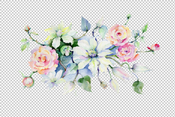 Print on Demand: Celebration Bouquet Flowers PNG Watercolor Set Graphic Illustrations By MyStocks
