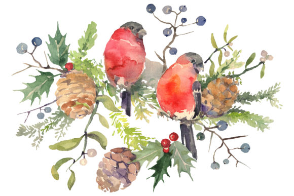 Print on Demand: Christmas Bouquet with Bullfinch Watercolor Png Graphic Illustrations By MyStocks