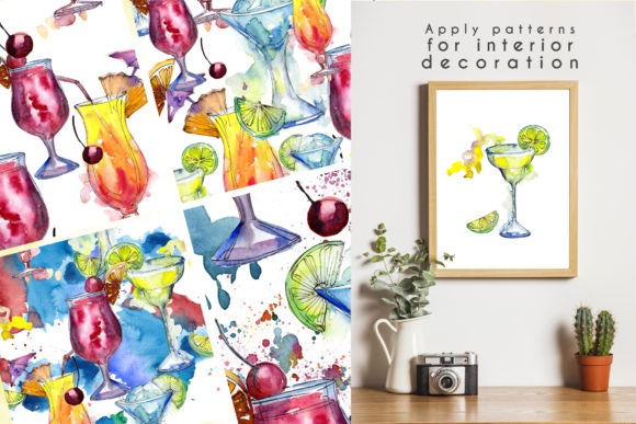 Cocktails Watercolor Collection Set Graphic Design