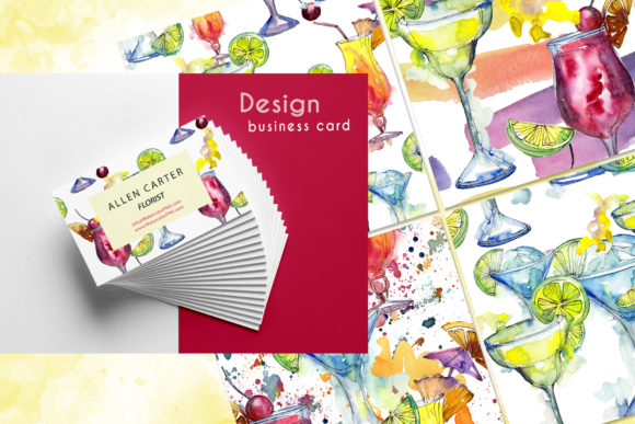 Cocktails Watercolor Collection Set Graphic Image