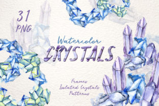Print on Demand: Crystals Blue Watercolor Graphic Illustrations By MyStocks