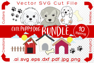 Print on Demand: Cute Puppy Dog Bundle Graphic Illustrations By iBearToo