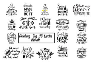Print on Demand: Drinking 19 Quotes Bundle Graphic Print Templates By SVG_Huge